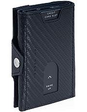 VON HEESEN Slim Wallet mit RFID-Schutz - Mini Kartenetui - Leder Geldbörse Herren klein - Geldbeutel Männer Kreditkartenetui Geld Clip Portemonnaie Portmonee (Carbon)