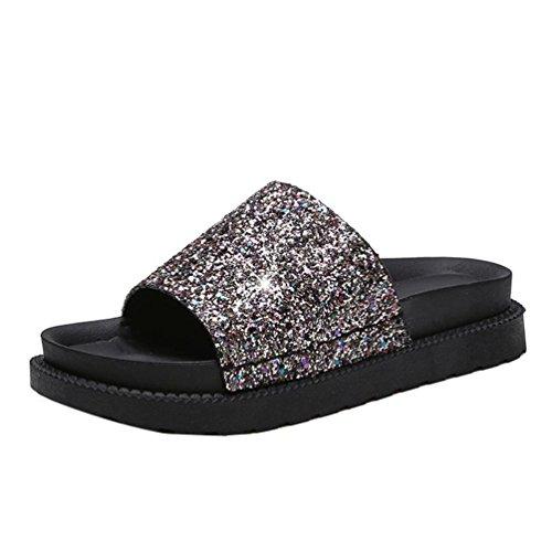 Womens Slipper ,Clode® Fashion New Summer Sandals Shoes Sequins Peep-toe Chunky Sole Flat Shoes Roman Sandals Ladies Flip Flops Beach Shoes Gold