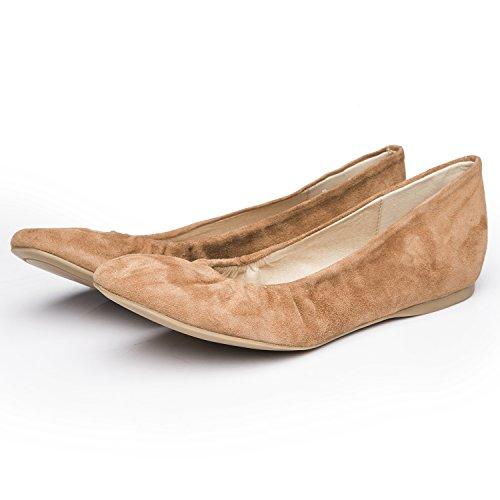 LiKing 10-001 Damen Ballerinas Echt Leder (Fällt eine Nummer kleiner aus) Hellbraun