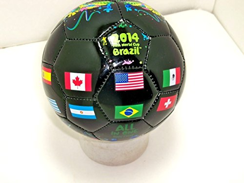 FIFA 2014 Brazil world cup Black MINI soccer ball size 2 sz flags international