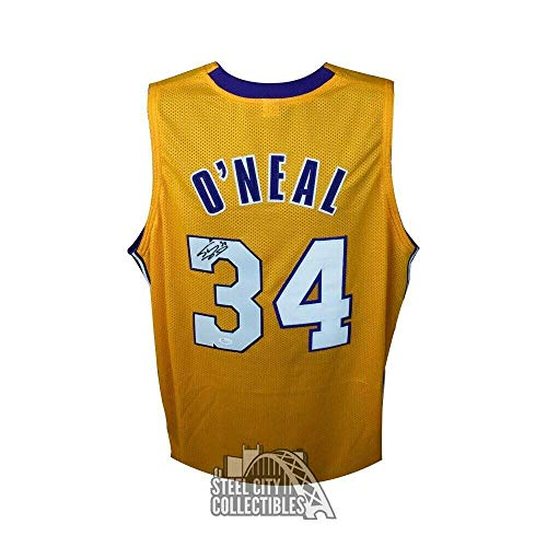 (Shaquille O'Neal Autographed Lakers Gold Custom Shaq Basketball Jersey - COA - JSA Certified - Autographed NBA Jerseys)