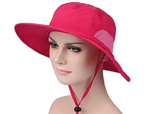 Women's Wide Brim Cotton Sun Hat with Wind Lanyard - Rose Red - Rated UPF 50+ Maximum Sun Protection - Rated Lanyard