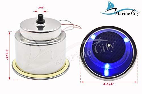Marine City Stainless Steel 3-Blue-LED 12V,1W Drink Cup Holder with Drain (1 Piece)
