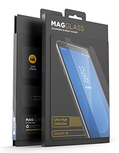 MagGlass Tempered Glass for Galaxy J8 Screen Protector, (Case Compatible) Reinforced XT90 Full Display Protection (High Clarity) Crystal Clear HD Screen Guard (for 2018 Samsung J8 Phone)