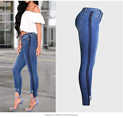 Laterali Forma Mom Donna Ricamo Bande Jeans Blue Con Per Femme Stretch Plus Size Jean A Di qpwx8RYa