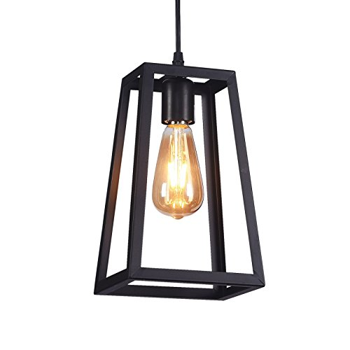 "Wideskall 6"" Industrial Metal Iron Frame Square Lantern Mini Hanging Pendant Light 1-Bulb Lighting Fixture, Matte Black Finish, UL Certificated"