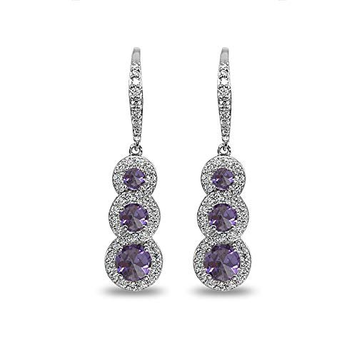 Journey Necklace Earrings - Sterling Silver Simulated Alexandrite Journey Halo Three-Stone Dangle Leverback Earrings