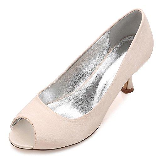 Bas De sur Orteil Partie De Champagne Femmes Satin Mesure Cour Dames L Svhs Talon Mariage Chaussures De Taille De 10 E17061 La Peep De Fqxw0Hna85