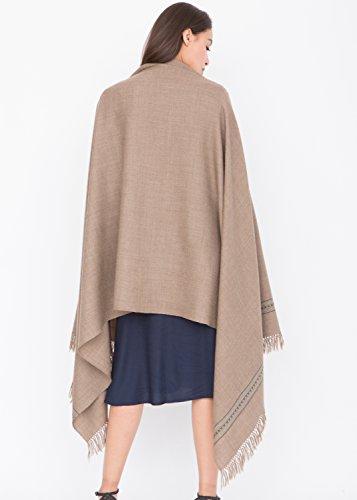 Châle 'Mansi' tissé à la main en laine mérinos 100 x 200cm Gris Foncé