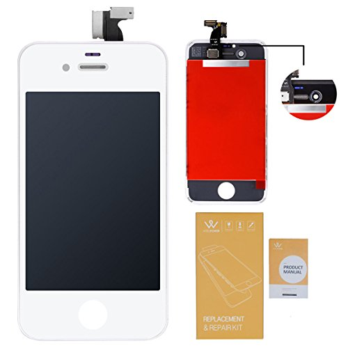 WEELPOWER LCD Touch Screen Digitizer Glass Replacement Assembly for iPhone 4S with Repair Tool (White)