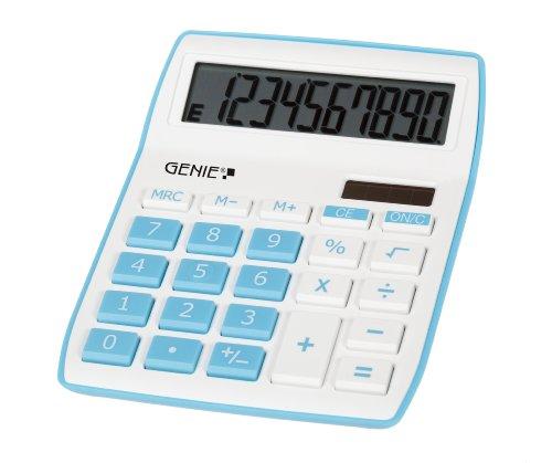 Genie 840 B 10-stelliger Tischrechner (Dual-Power (Solar und Batterie), kompaktes Design) blau