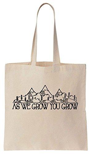 As We Grow You Grow Mountains Inspirational Design Sacchetto di cotone tela di canapa