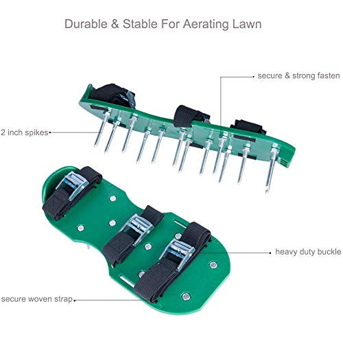 SiGuTie Lawn Aerator Shoes, Spiked Lawn Aerating Sandals Heavy Duty Garden Tool Metal Buckles 3 Adjustable Straps Universal Size Aerating Garden Yard, Extra Wrench Instructions by SiGuTie (Image #1)