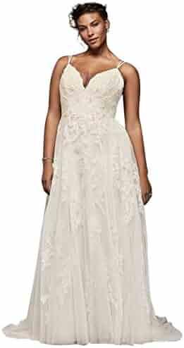 f373177ee00 David s Bridal Scalloped A-Line Plus Size Wedding Dress Style 8MS251177