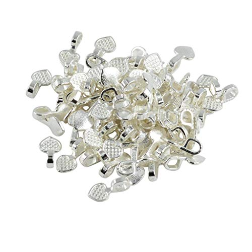 Laliva 100 Pieces Silver White Heart Glue on Bails Pendant Cabochon for Wire Wrapping Drilling Jewellery Making Findings Accessories ()