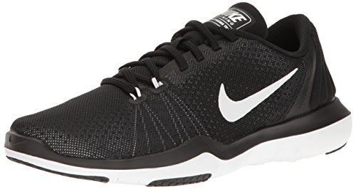 NIKE Women's Flex Supreme TR 5 Cross Training Shoe, Black/White/Pure Platinum, 8 B(M) US