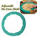 Denzar Silicone Pie Crust Shields, Adjustable Pie Protectors, Fits 8.5'' - 11.5'' Rimmed Dish, Green