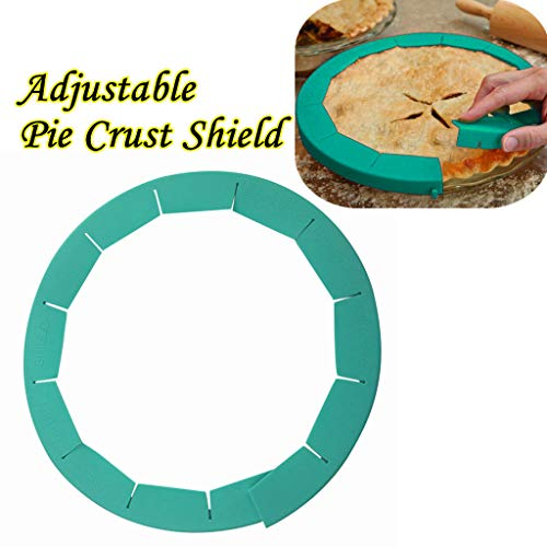 Denzar Silicone Pie Crust Shields, Adjustable Pie Protectors, Fits 8.5