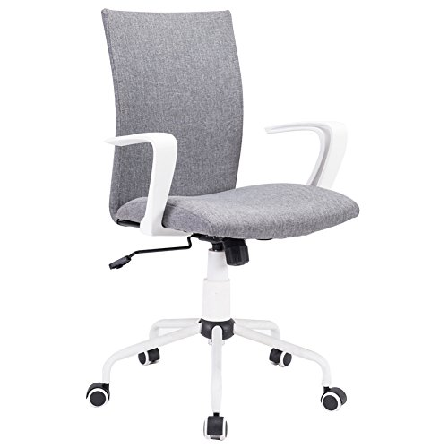 DJ·Wang Grey Modern Desk Comfort White Swivel Fabric Home Office Task Chair with Arms and Adjustable Height, Suitable for Computer Working and Meeting and Reception Plac, Overall: D5W21.25H89-99cm