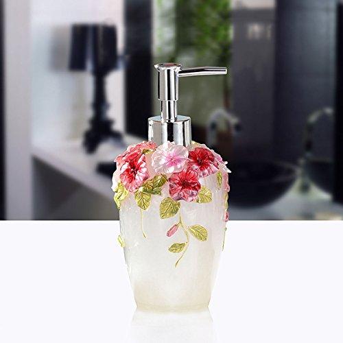 Elegant Carved 3D Flowers Sanitizer Bottle Soap Dispenser Pump Pastoral Bathroom (White) -  Bathroom Accessory Sets