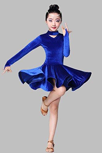 Bambini Bozevon Ragazze Blu Abiti Da Gonne E Inverno Autunno Ballo Latino Costumi Per Di FqXgX1xf