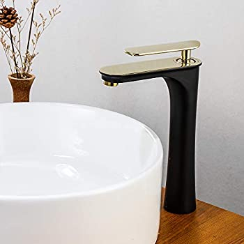 WANFAN Modern Single Handle Bathroom Sink Vessel Faucet Basin Mixer Tap Solid Brass Black/&Gold 220RK