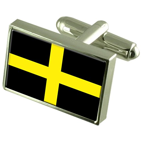 St David?s Cross Sterling Silver Flag Cufflinks in Engraved Personalised Box by Select Gifts