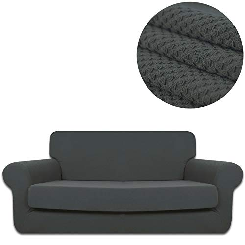 ANJUREN Sofa Loveseat Couch Chair Slipcover Cover with Separate Seat Cushion Cover 2 Piece 4 Seater T Cushion Sofa Slipcovers Large Knit Stretch Living Room Furniture Shield Protector (XL Sofa, Gray) (Slipcovers T Cushion Piece 4 Sofa)