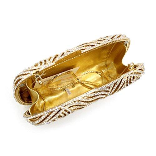 Bolsa De Embrague De Gama Alta Bolso De Noche De Lujo Del Diamante De Las Mujeres Gold