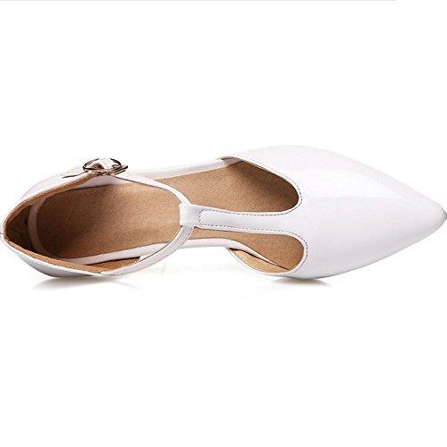 Women T LongFengMa Sandals Strap Pointed White Heel High Sexy Toe Tqqadgtx