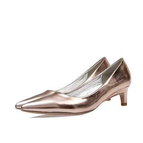 VogueZone009 Damen Rein Lackleder Mittler Absatz Ziehen auf Spitz Zehe Pumps Schuhe Golden