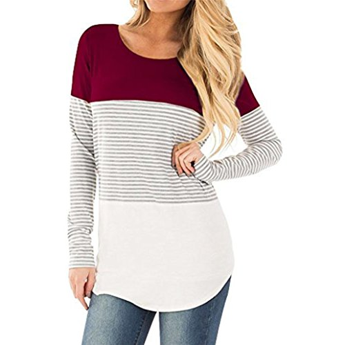 iYBUIA Women Casual Cotton Long Sleeve Striped Patchwork Stretchy Tops Blouse T-Shirt(Red,M)