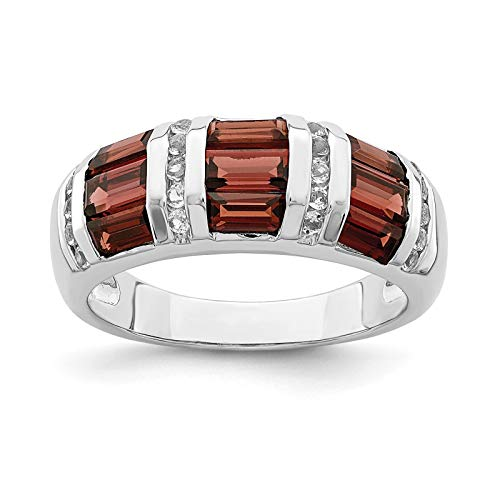 925 Sterling Silver Rhodium-plated Baguette Garnet & White Topaz Wedding/Anniversary Ring Band Size 6 ()