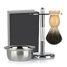 Classic Shaving Set, SKM Shaving Gift Set with Razor and Brush Stand, Shaving Bowl and Shaving Brush, Razor Facial Cleansing Wet Beard Shaving Kit for Men