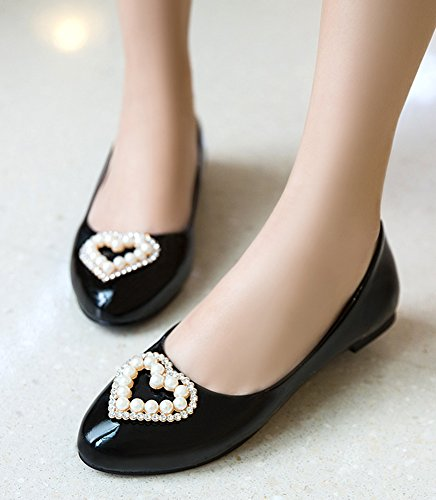 Aisun Femmes Élégant Confort Perlé Conduite Bout Rond Robe Slip On Appartements Chaussures Noir