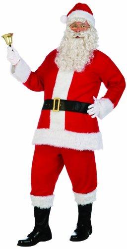 Men's Santa Claus Costume Flannel Suit, Red/White, Standard