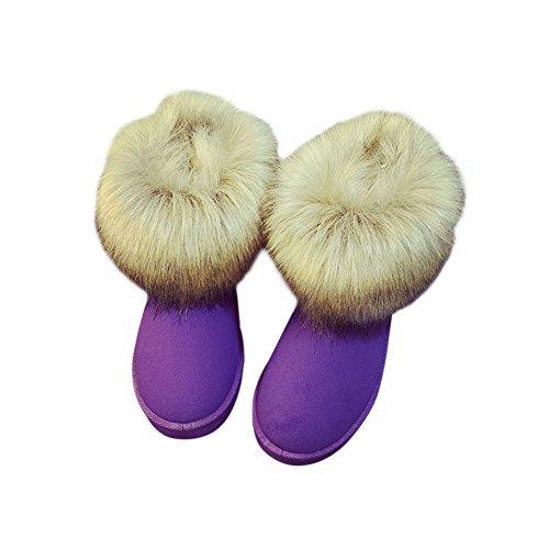 Zhuhaixmy Damen Frauen Winter Schnee Kunstpelz Fluffy Stiefeletten Warme Bequeme Beiläufige Flache Schuh Lila