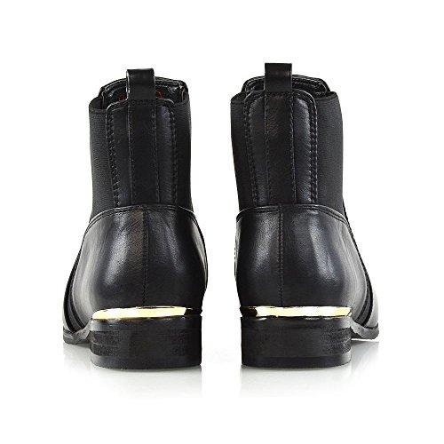 Alla Gusset Chelsea Pelle Essex Ladies Sintetica Boots Casual Nera Glam Flat Elasticizzato Stivaletti Caviglia Womens Pixie xwwaqv