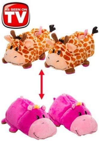 Two in One Warm /& Comfy Plush Slippers Flipazoo Seen On TV Slippers Pig Transforming to Cow Size Medium 12//13