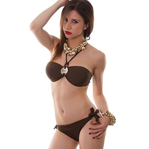 Toocool–Bikini para mujer traje de baño playa banda joya dos piezas nuevo B1301 marrón