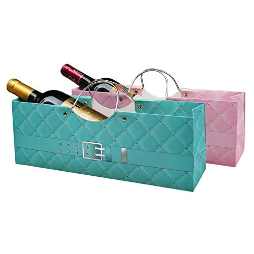 Chris.W Wine Purse Gift Bags, Set of 2 Deluxe Superior Quality Paper Bags for Single Wine Bottle(Pink/Blue) - - Single 1945