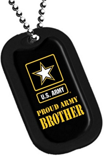 Dog Tag Key Chain Necklace Engrave-Able Military Us Proud Army Brother ()