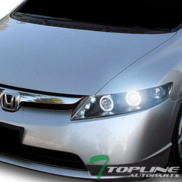 (Topline Autopart 8000K Hid Xenon Black Halo Led Projector Head Lights Lamps 06-11 Honda Civic 4Dr)