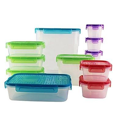 World Kitchen 24 Piece Snapware Airtight Plastic Tote Storage Set, Clear