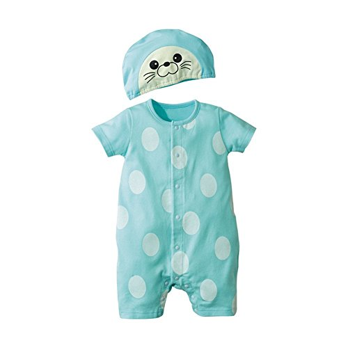 Jojobaby Baby Unisex 2Pcs Baby Clothes Fruit / Animal Bodysuit With Hats (90(9-12 Months), Sea Lions) -