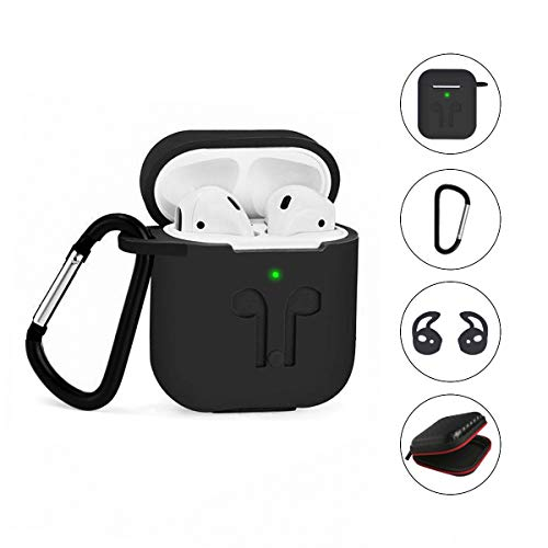 LBG Products 2019 Protective Silicone Airpods Case Accessories Kits Cover and Skin Ear Hook and Eva Bag Compatible with Apple AirPods 1st/2nd Wireless Charging Case [Front LED Visiable]