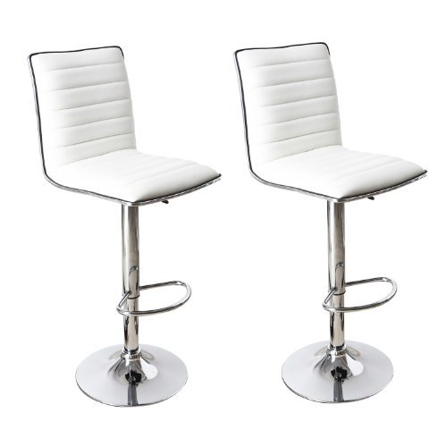 Adeco White Adjustable Leather Look, Horizontal Channel Accents Barstool Chair Set of 2