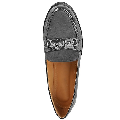 Fashion Thirsty Womens Studded Flat Loafers Formal Slip On Shoes Size Grey Crinkle Patent / Suede Panel ex1Aap