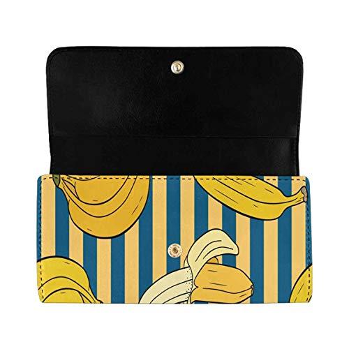 InterestPrint Women's Trifold Long Clutch Wallets Banana Stripe PU Leather Clutch Bag