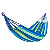 KingCamp Hammock Double Single 1-2 Person Cotton Canvas Portable Large Parachute Swing Bed Tree Hanging Colorful Stripes Outdoor Camping Patio Yard Beach